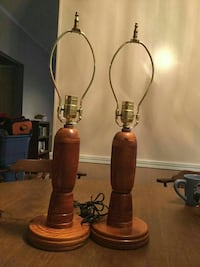 Pair of Handmade Wooden Lamps