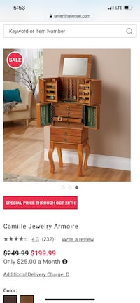 Jewelry armoire beautiful great gift willing to meet