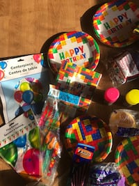 Birthday party package - LEGO theme.plates centerpiece goodie bags etc