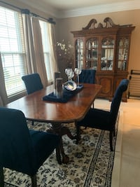 Brown wooden dining table set with China Fairfax, 22030