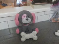 Pink Crochet Puppy Dog with Dog Bone Richmond