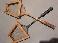 Vintage Wooden Badminton Racquets & Cover Chevy Chase