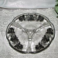 Footed Glass Dish with Silver Overlay Vintage 7.25 Mississauga