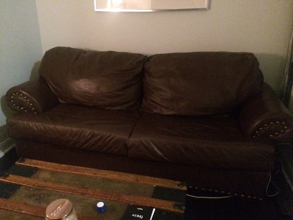 Restoration hardware leather brown couch 5b32bbf9-afd3-40a6-a9c2-db91058a2f12