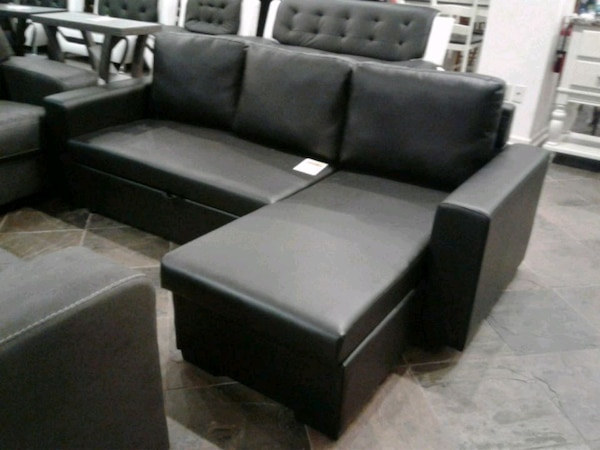 Black Convertible Sofa Bed W/ Storage Chaise