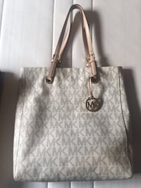 White and gray Michael Kors leather tote bag Ottawa