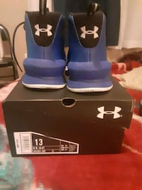 Size 13 Under Armor sneakers Blue and black and white and grey