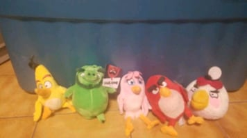 Angry birds plush toy collection.