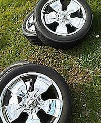 chrome 5 spokes car wheel with tire set Stafford, 22554