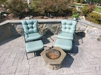 Outdoor Patio Lounge Chairs with matching ottomans & waterproof covers