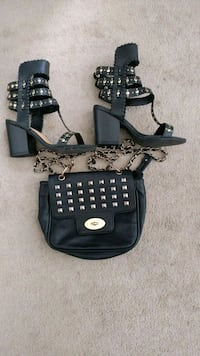 Black and gold shoes and purse