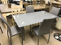 Brand new grey tempered glass 5pc dining set warehouse sale  多伦多
