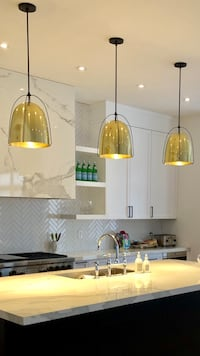 "Wire dome 12"" pendant light in lacquered brass"
