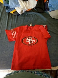 red and black San Francisco 49ers jersey shirt