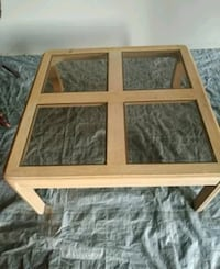 brown wooden framed glass top coffee table Vaughan, L6A 2N7