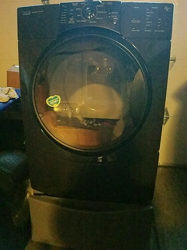 black front-load clothes washer