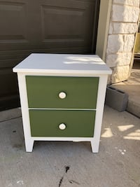 white and green wooden 2-drawer nightstand