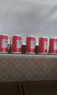 5 Budweiser plastic mugs never used from 80s Warwick