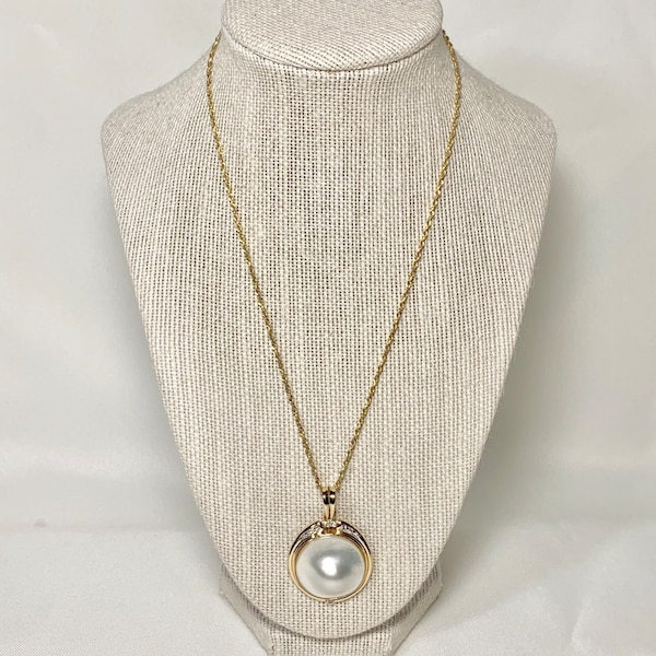 Genuine 14k Gold Blister Pearl Diamond Pendant with 14k Rope Chain 6