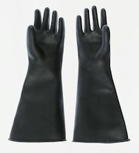 Ansell Reusable Gloves Rubber Black Acid Resistant, Alkali Resistant, Chemical Resistant 9.5 - L  Guyton, 31312