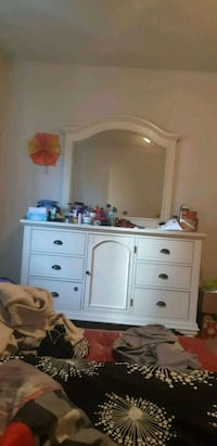 white wooden dresser with mirror Montréal, H8T 1N9