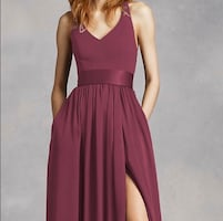 V Neck Halter Gown with Sash (Color: Wine, Size: 16)