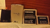 four Lg and Samsung smartphones batteries