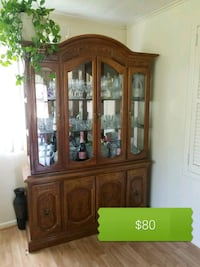 brown wooden framed glass china cabinet Silver Spring, 20906