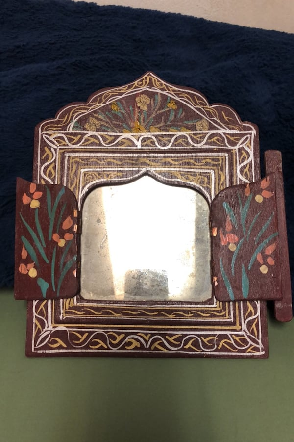 Vintage hand painted wood with mirror. a6669f13-db3b-4e64-ba31-aeabe4290e47
