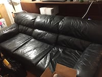 black leather 3-seat sofa Falls Church, 22046