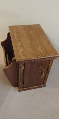 Solid wooden bedside table with built-in magazine