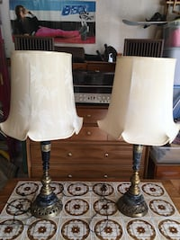 Pair of Vintage Brass And Marble Asian Lamps!