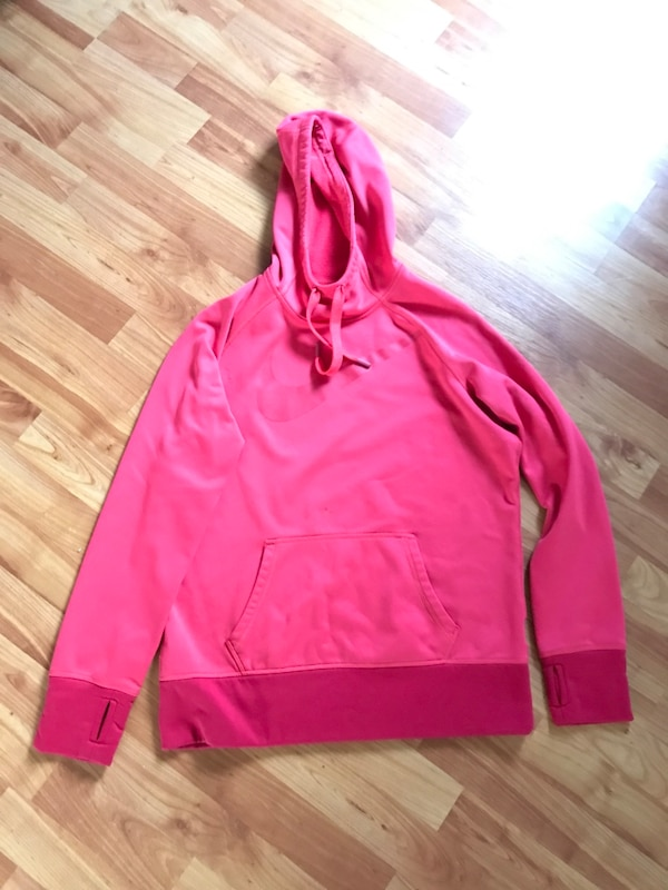 pink Nike pull-over hoodie(women Large)