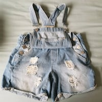 distressed denim shortalls