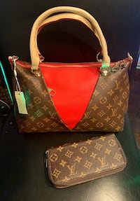LV Red Leather Bag Springfield, 22151