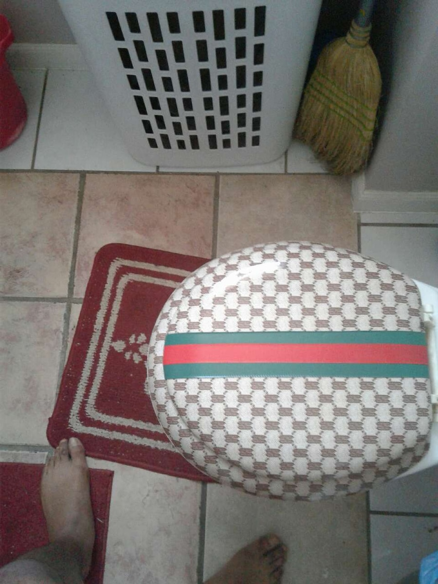 Delightful Used Gray Blue And Red Gucci Toilet Seat Cover In McKeesport
