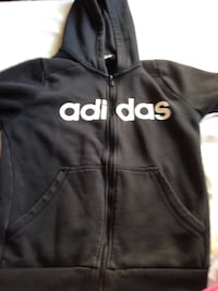 black and white Adidas zip-up hoodie Highlands, V9B