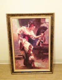 "Big 32.5""W X 40""H Spanish Flamenco Dancer Oil pain Franklin Township"