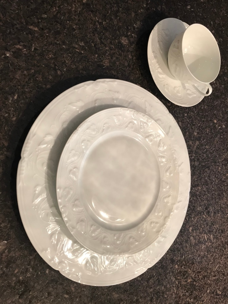 Photo CH Field Haviland Limoges Imperatrice all white 4 piece place setting