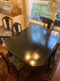 Refinished antique dining set with 5 chairs