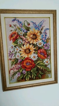 yellow and red flowers cross-stitch artwork Montreal, H3R 3L4