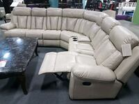 white leather sectional sofa with ottoman Toronto, M9W 4X3