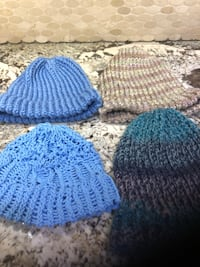 blue and white knit cap