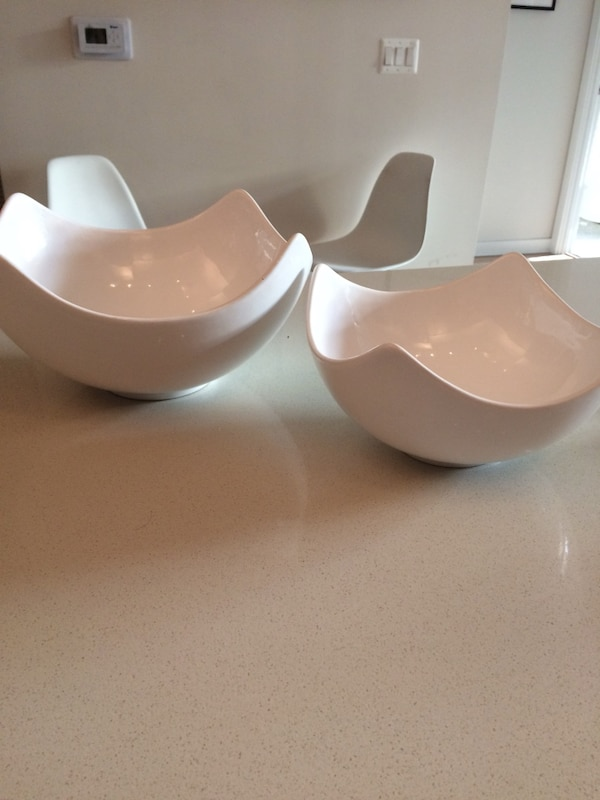 Pair of white ceramic bowl decor