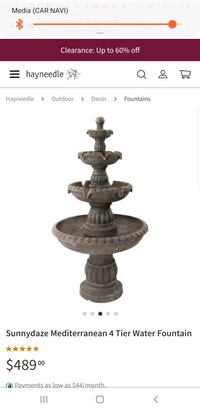Mediterranean 4 tier water fountain
