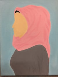 Woman in hijab painting Edmonton, T5H 3M1
