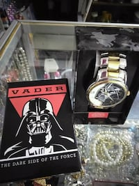 round silver-and-gold-colored Vader analog watch with link band Toledo, 43611