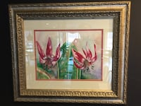 painting of red and green flower with brown frame Blauvelt, 10913