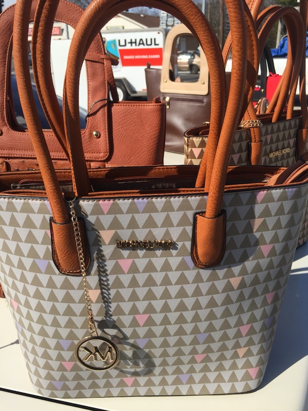 aed32563d5a7 Used brown and gray Michael Kors monogram leather tote bag for sale in  Hopkinsville - letgo