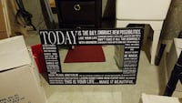 black and white Today printed framed mirror